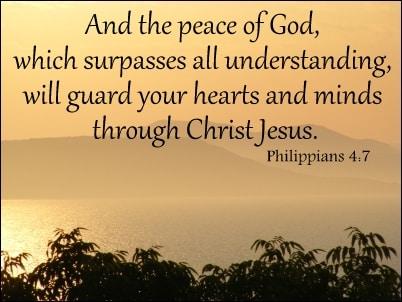 Peace that surpasses understanding….